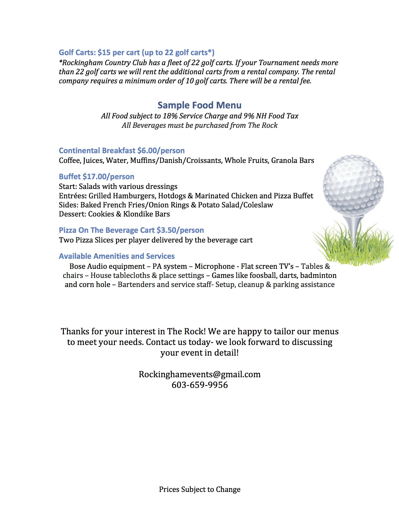 Price per person starting rates tax included subject to - The Rock Golf Tournament Copy2
